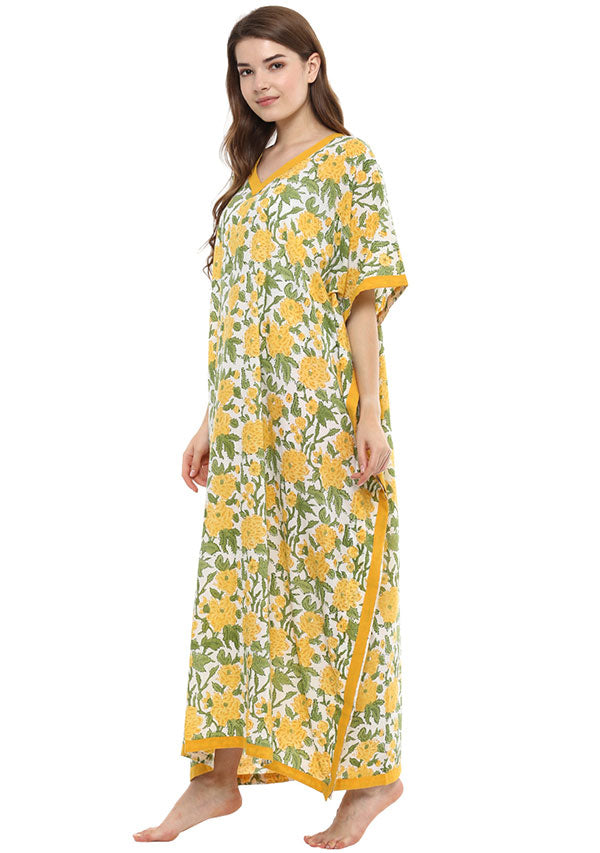 White Yellow Floral Hand Block Printed V- Neck Cotton Kaftan