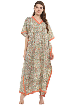 Green Peach Floral Hand Block Printed V-Neck Cotton Kaftan
