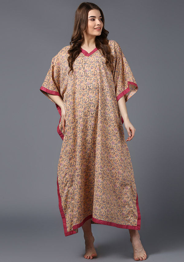 Peach Pink Floral Hand Block Printed V-Neck Cotton Kaftan