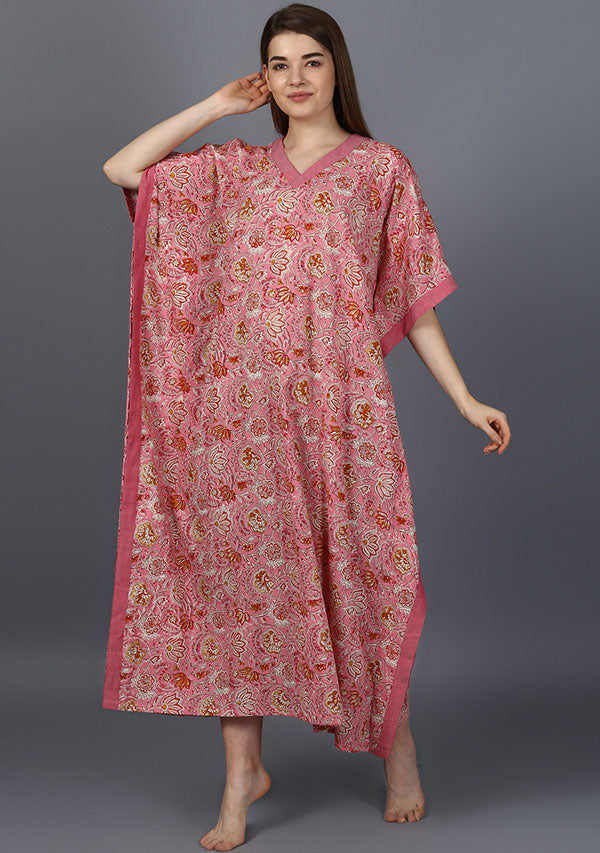 Pink Red Floral Hand Block Printed V- Neck Cotton Kaftan