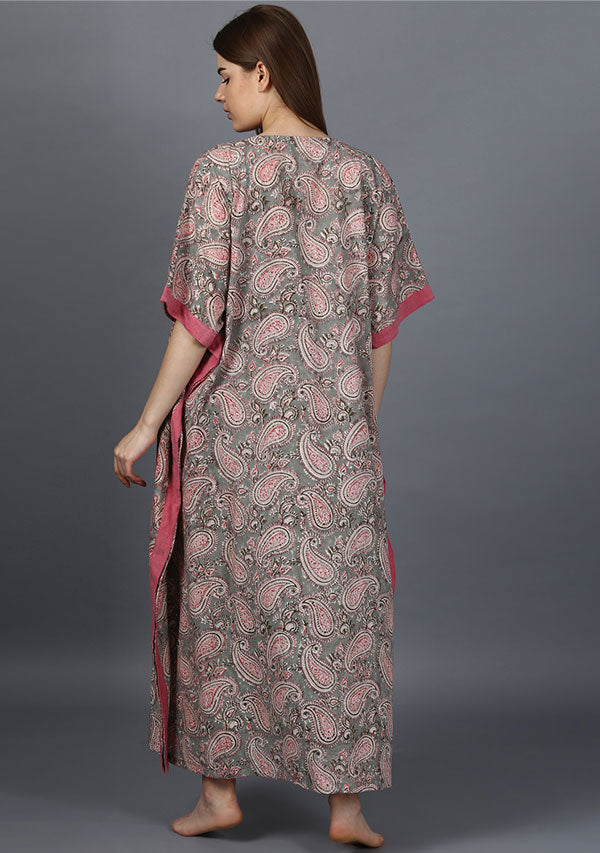 Grey Pink Paisley Hand Block Printed V-Neck Cotton Kaftan