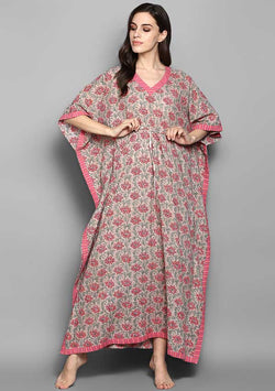 Beige Pink Flower Motif Hand Block Printed Tie Up Waist Cotton Kaftan
