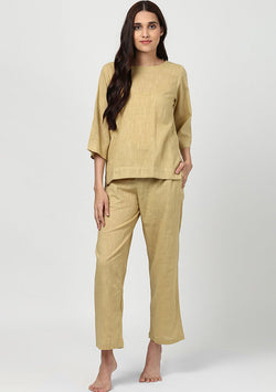 Beige Cotton Night Suit with Sleeves