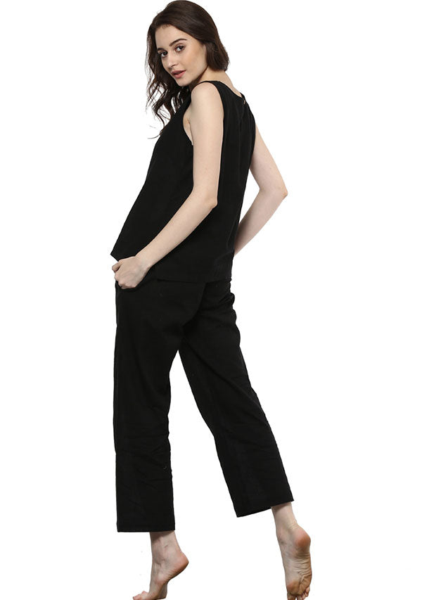 Black Sleeveless Cotton Yoga Wear