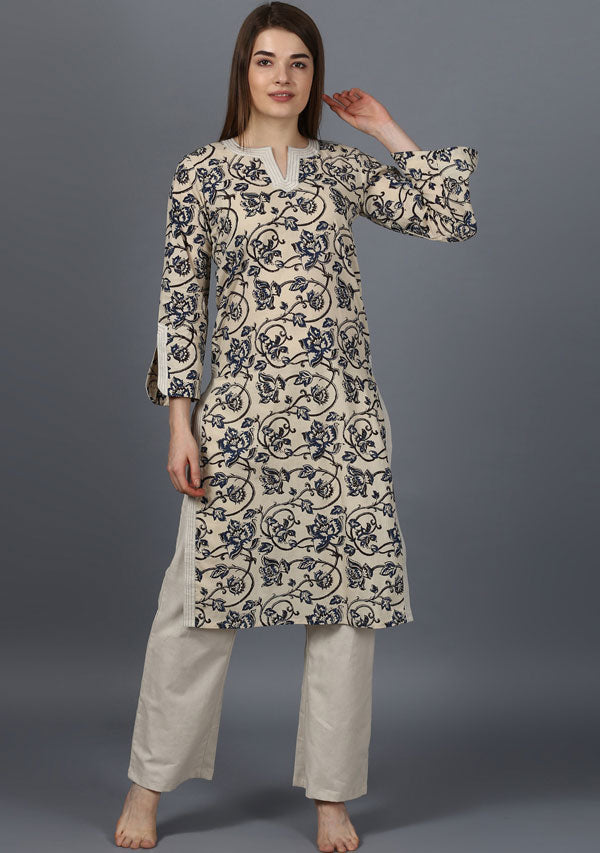 ADAA Ivory Blue Hand Block Printed Cotton Kurta with Pants