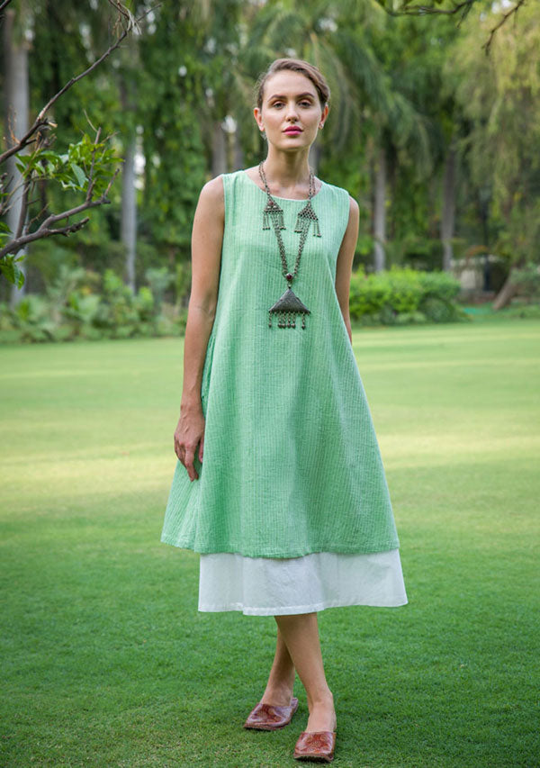 Lime Green Sleeveless Layered Soft Cotton Dress