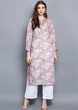 ADAA Mauve Grey Floral Hand Block Printed Cotton Kurta with Pants