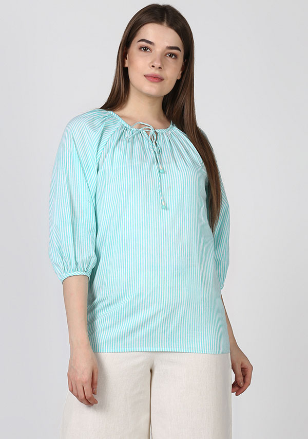 Turquoise Ivory Striped Cotton Tunic with Raglan Sleeves