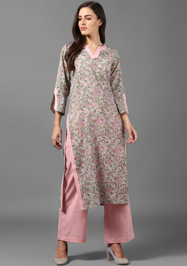 ADAA Pink Blue Hand Block Printed Floral Cotton Kurta with Pants
