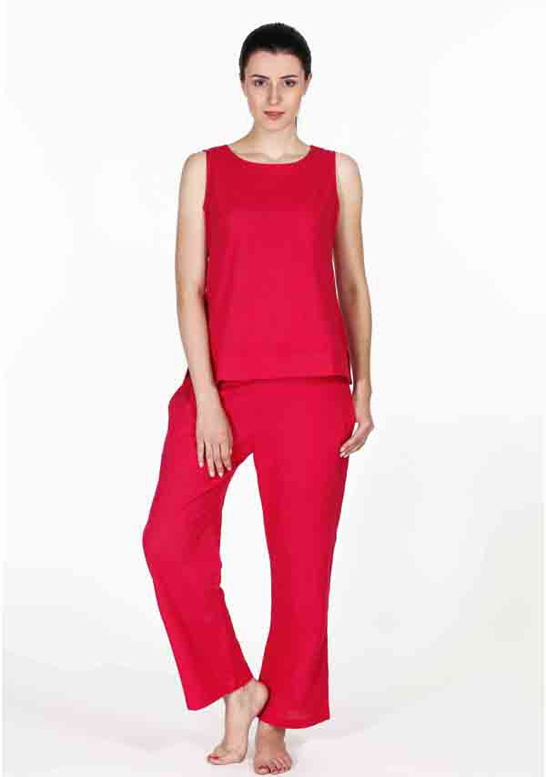 Fuchsia Sleeveless Cotton Night Suit