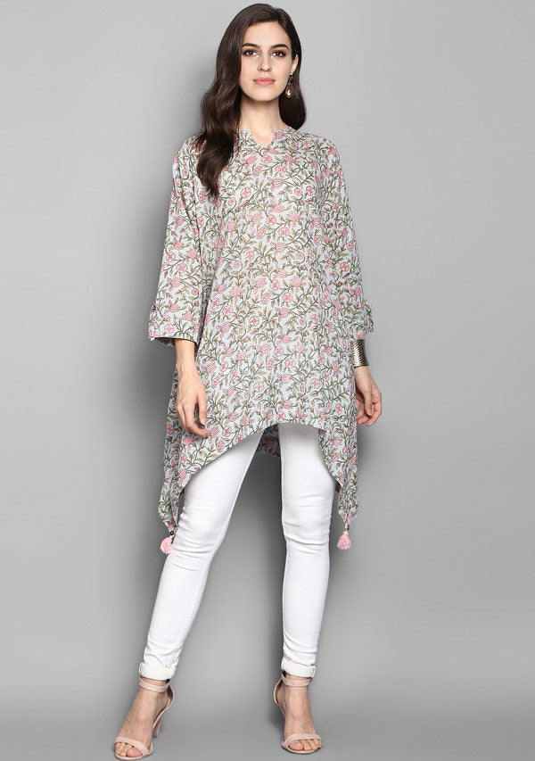 Grey Pink Lotus Motif Hand Block Printed Asymmetric Tunic with Side Tails and Tassels
