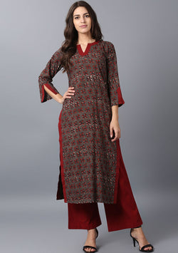 ADAA Brown Maroon Hand Block Printed Cotton Kurta with Pants