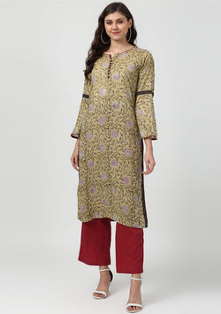 ADAA Green Wine Floral Hand Block Printed Cotton Kurta with Pants