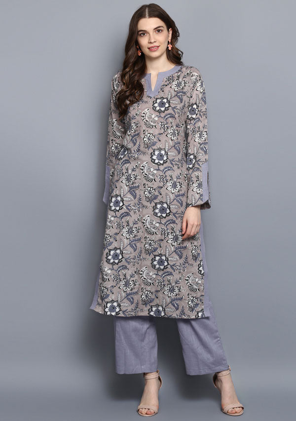 ADAA Grey Black Floral Hand Block Printed Cotton Kurta with Pants