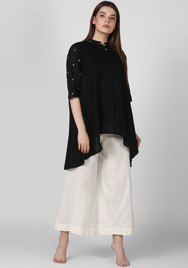 Black Asymmetric Cotton Tunic with White Booti