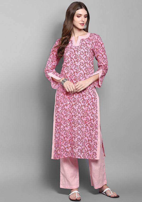ADAA Pink Red Floral Hand Block Printed Cotton Kurta with Pants