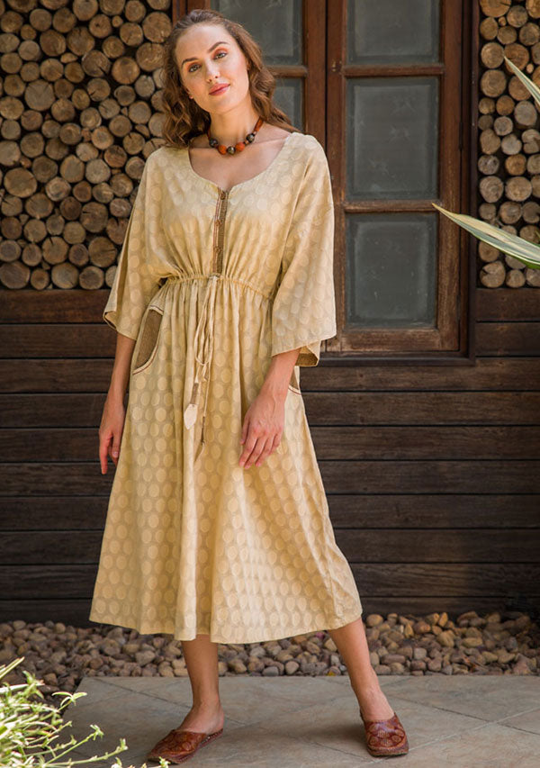 Beige Polka Dot Weave Calf Length Cotton Kaftan Dress