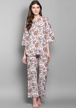 White Multicolour Flower Motif Hand Block Printed Cotton Night Suit