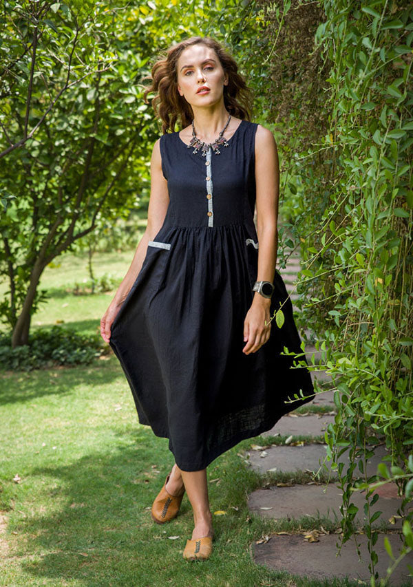 Black Sleeveless Cotton Dress With Gathers and Patch Pockets