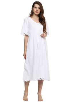 Short Sleeved V- Neck Calf Length Cotton Nightie with Lace Trimmings