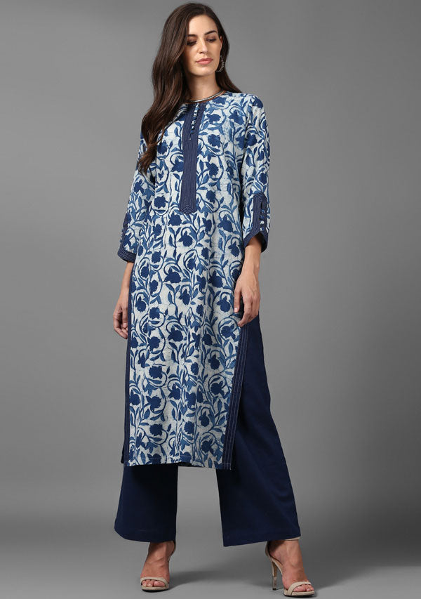 ADAA Indigo Ivory Hand Block Printed Cotton Kurta with Pants