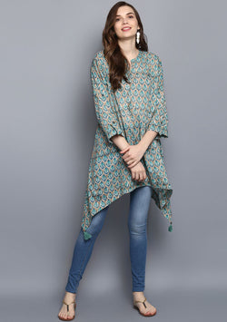 Khakhi Turquoise Floral Hand Block Printed Asymmetric Tunic with Side Tails and Tassels