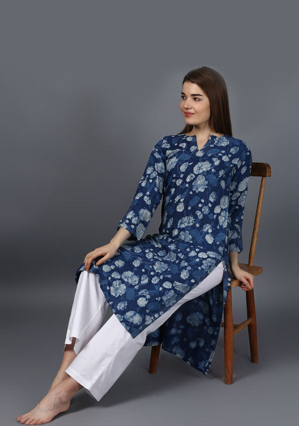 ADAA Indigo White  Floral Hand Block Printed Cotton Silk Kurta with Silver Stitch Lines and Cotton