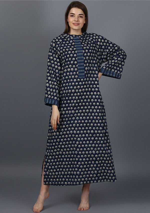 Indigo Ivory Flower Motif Cotton Night Dress Long Sleeves and Zip Detail