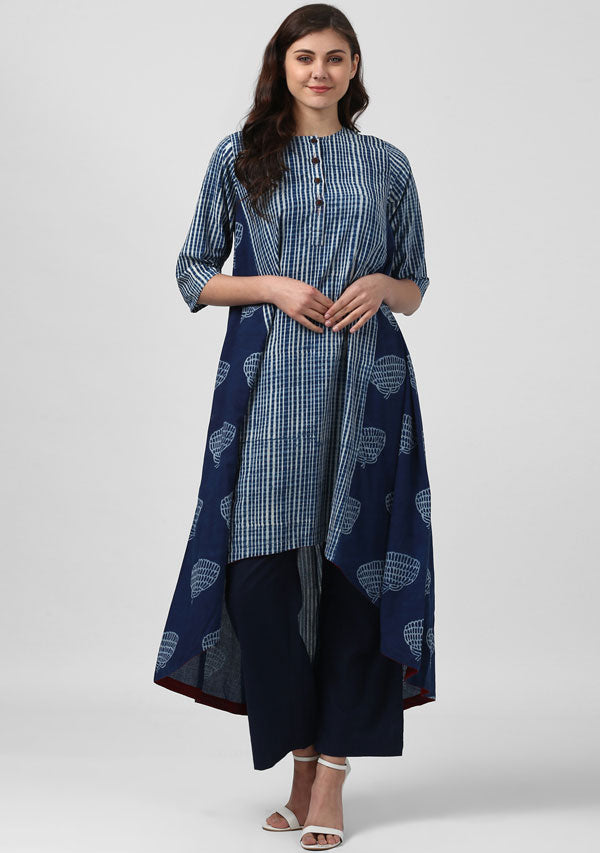Indigo Hand Block Printed Asymmetric Cotton Kurta with Pants