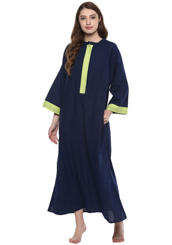Navy Blue Green Bell Sleeves Cotton Night Dress Long Sleeves and Zip Detail