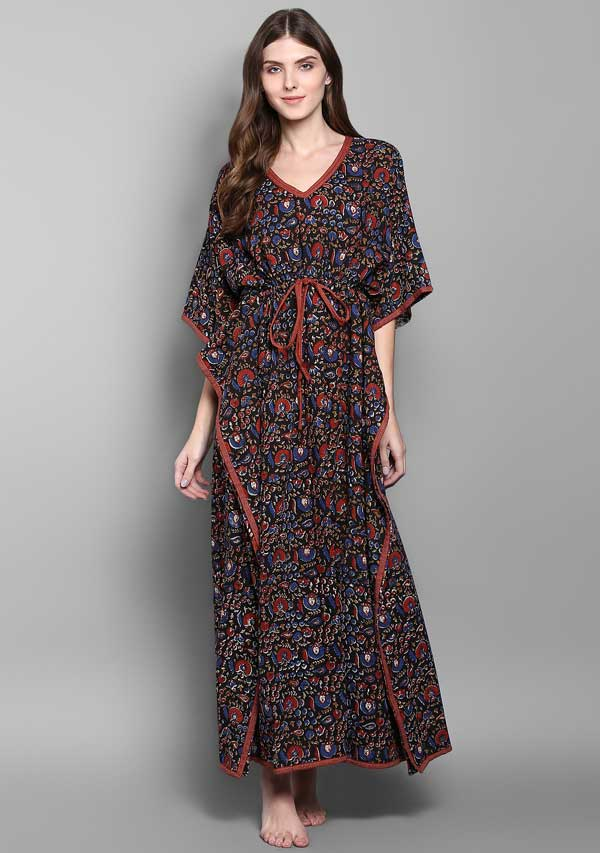 Black Rust Flower Motif Hand Block Printed Tie-Up Waist Cotton Kaftan