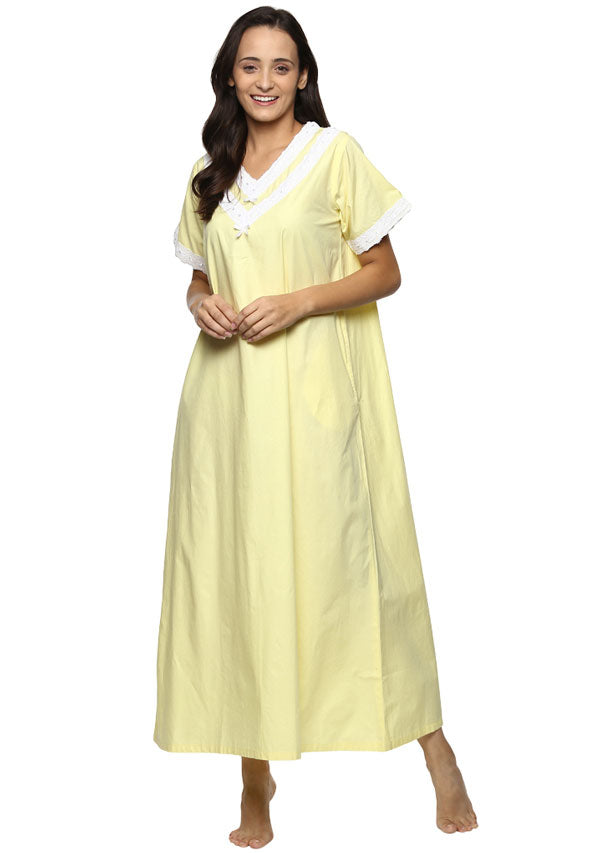 Short Sleeve V-Neck Yellow Cotton Nighty with V Neck and Lace Trimmings