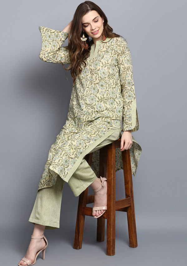 ADAA Olive Green Floral Hand Block Printed Cotton Kurta with Pants