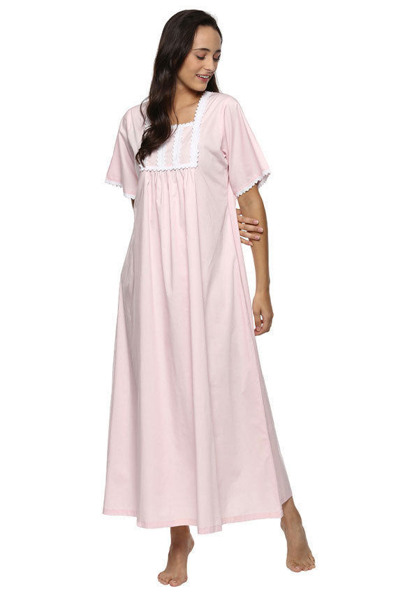 Short Sleeved Square Neck Pink Nighty with Lace Trimmings