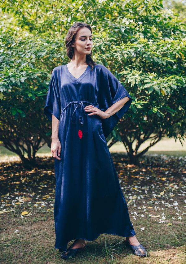Royal Blue Mushru Luxury Kaftan with Tie-Up Waist and Contrast Red Trimmings