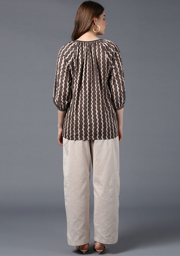 Beige Ivory Hand Block Printed Short Cotton Tunic with Raglan Sleeves