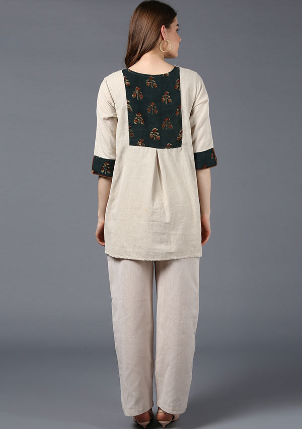 Beige Cotton Tunic with Green Hand Block Printed Patch Pocket and Cuffs