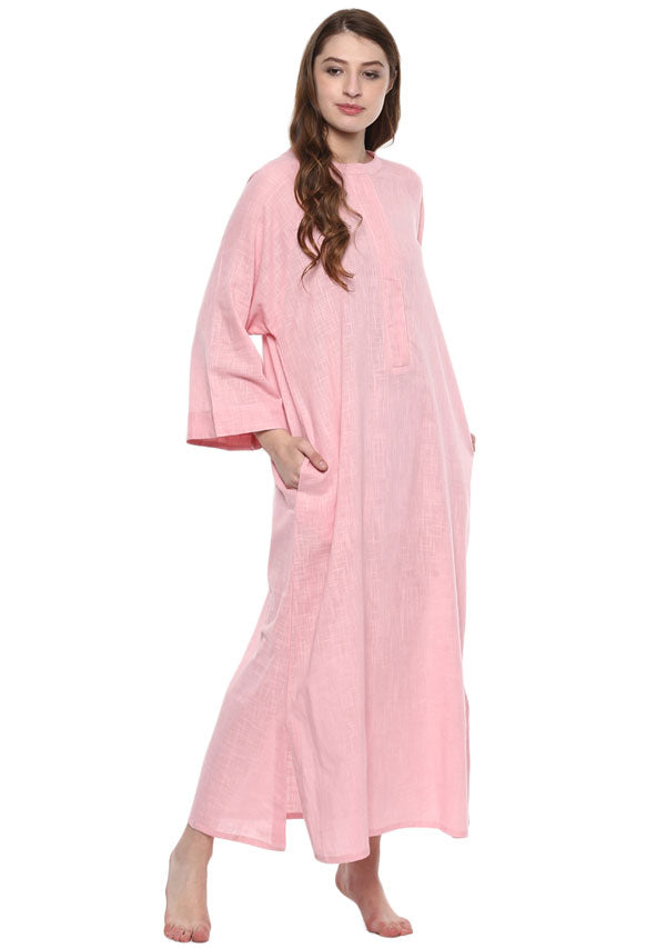 Pink Cotton Night Dress With Long Sleeves and Zip Detail