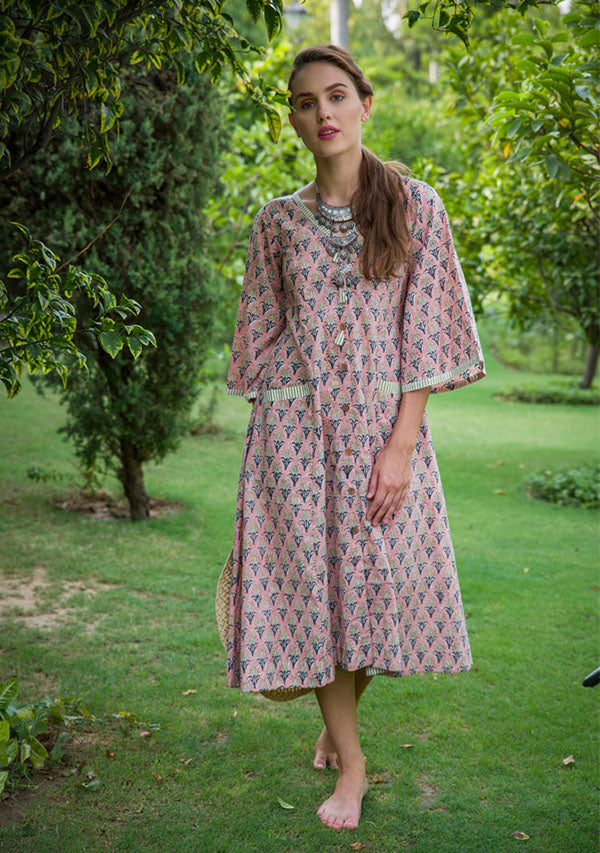Peach and Olive Flower Hand Block Printed Fit and Flare Cotton Dress
