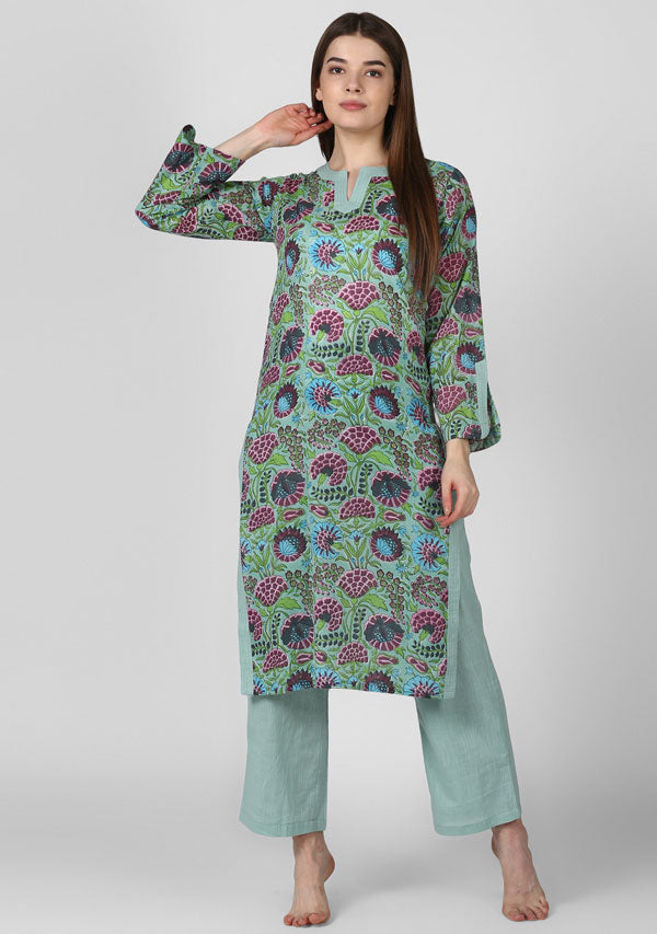 ADAA Aqua Pink Floral Hand Block Printed Cotton Kurta with Pants