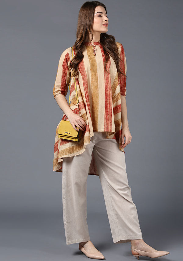 Beige with Brushed Rust and Mustard Stripe Asymmetric Cotton Tunic