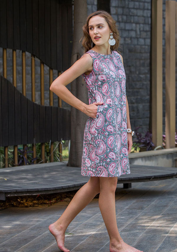 Grey Pink Paisely Hand Block Printed Short Sleeveless Cotton Dress