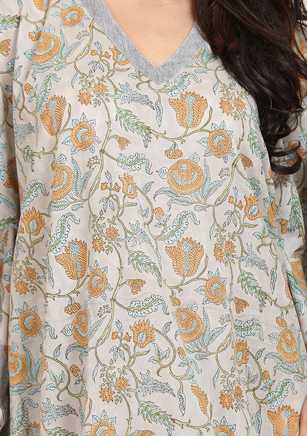 Grey Mustard Floral Hand Block Printed V-Neck Cotton Kaftan