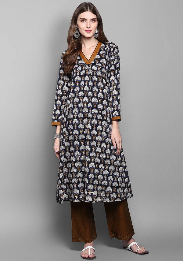 Black Rust Flower Motif Hand Block Printed Kurta with Pants