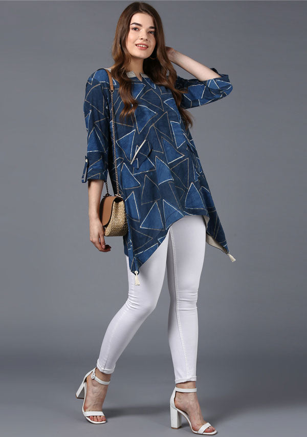 Indigo Beige Hand Block Printed Asymmetric Cotton Tunic with Side Tails and Tassels