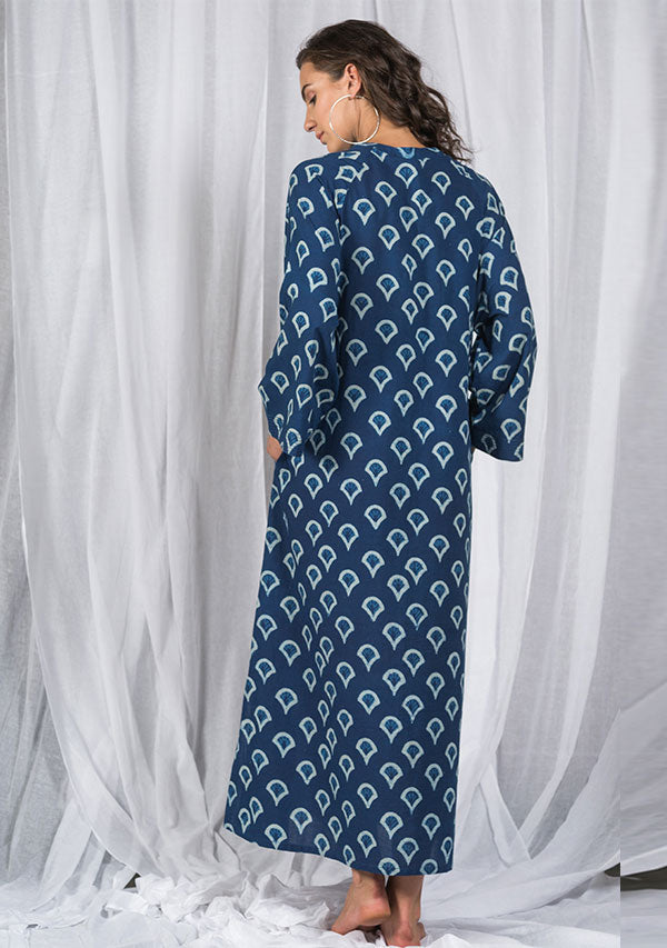 Indigo Ivory Night Dress Long Sleeves and Zip Detail