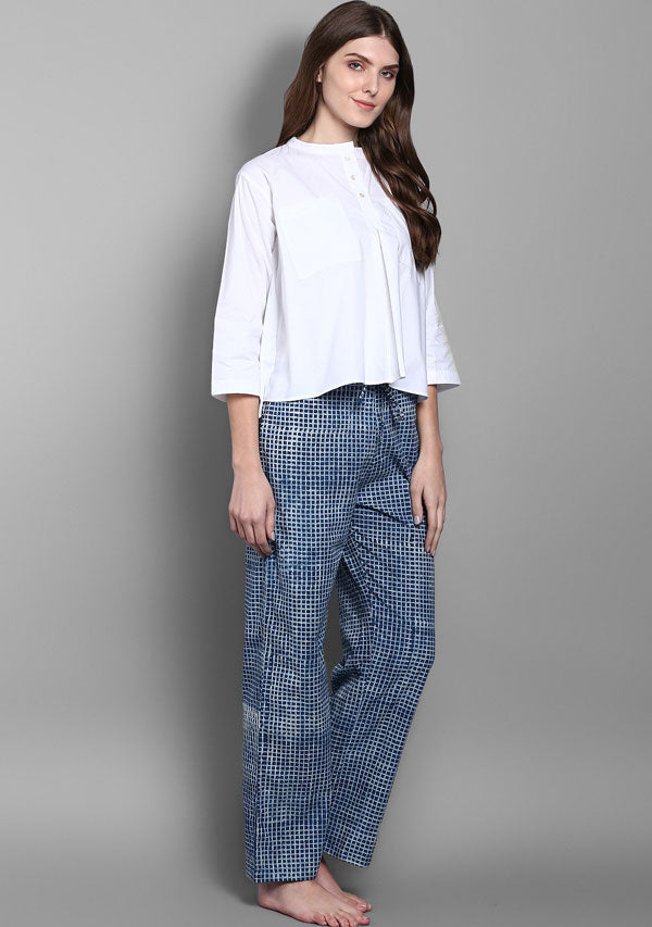 Indigo Checked Hand Block Printed Pants With White Crop Top