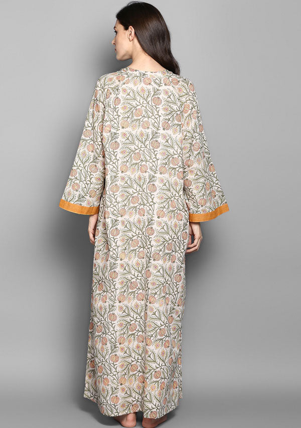 Peach Green Flower Motif Hand Block Printed Cotton Night Dress Long Sleeves and Zip Detail
