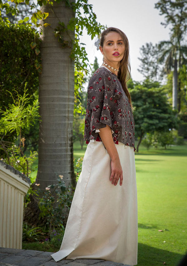 Brown Maroon Flower Motif Hand Block Printed Cotton Crop Top with Sleeveless Long Dress