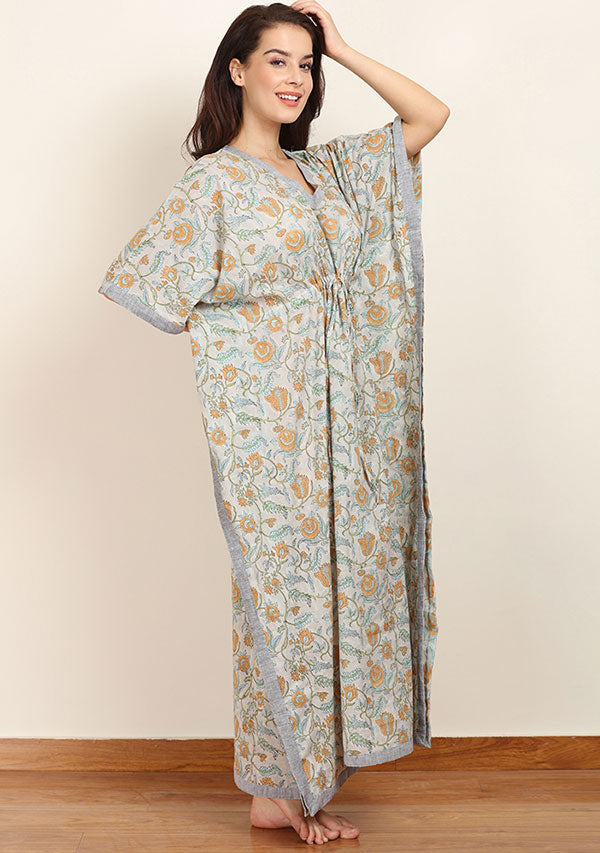 Grey Mustard Floral Hand Block Printed Tie-Up Waist Cotton Kaftan